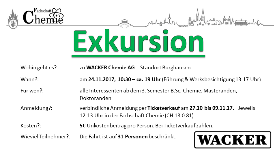Exkursion zu Wacker Chemie AG in Burghausen - 24.11.2017 - 5,- Unkostenbeitrag